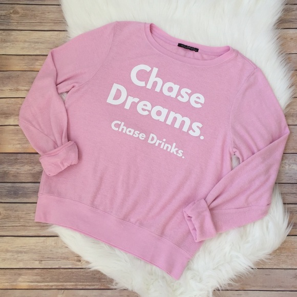 "Wildfox Tops - WILDFOX | ""chase dreams. chase drinks."" jumper"